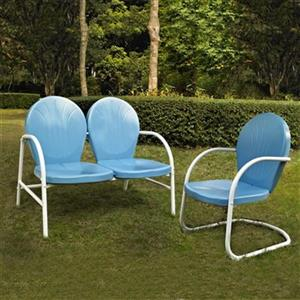 Crosley Furniture Griffith Blue 2-Piece Outdoor Conversation Set