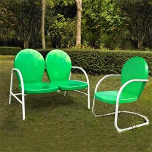 Crosley Furniture Griffith Green 2-Piece Outdoor Conversation Set