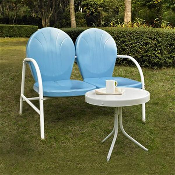 Crosley Furniture Griffith Blue-White 2-Piece Outdoor Conversation Set