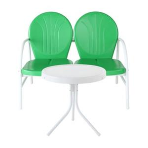 Crosley Furniture Griffith Green-White 2-Piece Outdoor Conversation Set