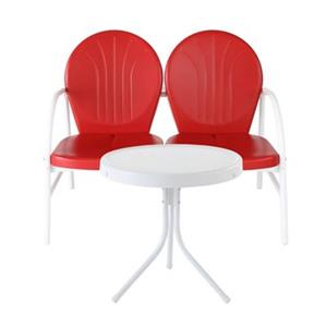Crosley Furniture Griffith Red-White 2-Piece Outdoor Conversation Set