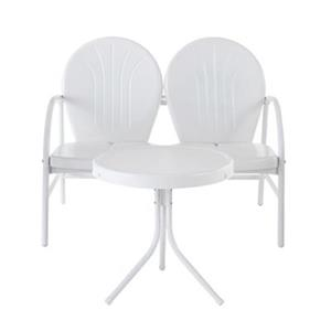Crosley Furniture Griffith White 2-Piece Outdoor Conversation Set