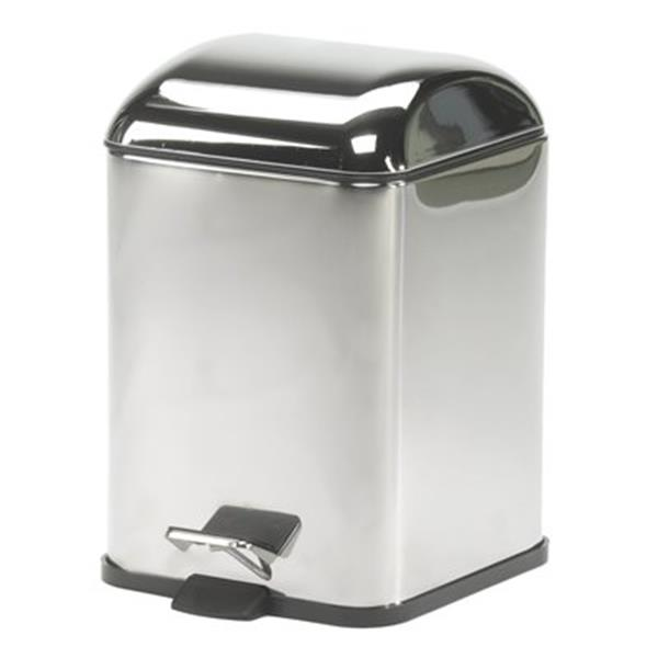WS Bath Collections Karta Collection Complements 11.40-in x 8.30-in Chrome Foot Pedal Waste Basket
