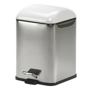 WS Bath Collections Karta Collection Complements 11.40-in x 8.30-in White Foot Pedal Waste Basket