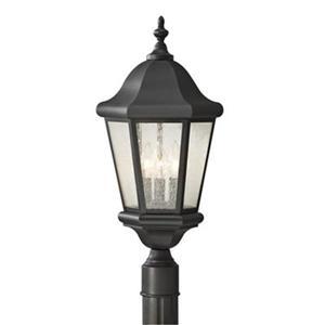 Feiss Martinsville 3-Light Black Post Mount Light