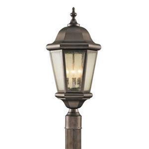 Feiss Martinsville 3-Light Corinthian Bronze Post Mount Light