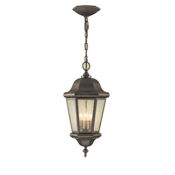 Feiss Martinsville Collection 10.25-in x 21-in Corinthian Bronze Seeded Glass Lantern 3-Light Pendant Light
