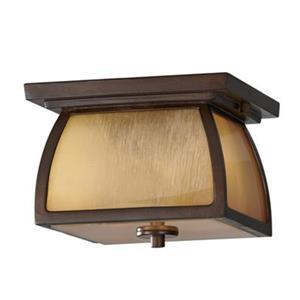 Feiss Wright House Sorrel Brown Outdoor Close To Ceiling Light.