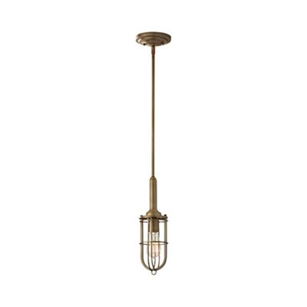 Feiss Urban Renewal Collection 4.38-in x 14.5-in Dark Antique Brass Cylinder Mini Pendant Light