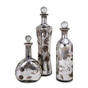 IMAX Worldwide Madison Silver Etched Mercury Glass Lidded Bottles (Set of 3)