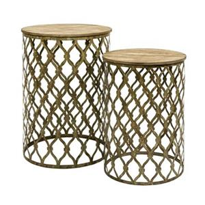 IMAX Worldwide Maridell 18.50-in x 26.50-in Light Brown Nesting Tables (Set of 2)