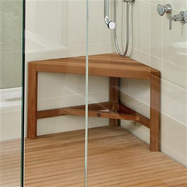 """Corner Shower Bench - 17.7"""" - Teak - Brown"""