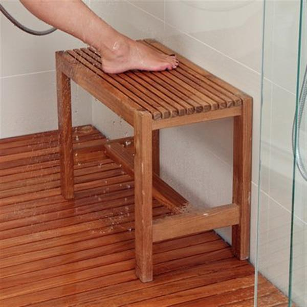 "Shower Bench - 17.7"" - Teak - Brown"