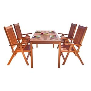 Vifah Malibu Outdoor Patio 5-Piece Wood Dining Set With Reclining Chairs