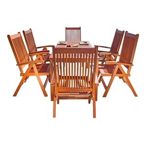 Vifah Malibu Outdoor Patio 7-Piece Wood Dining Set With Reclining Chairs