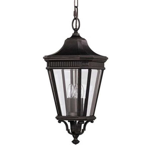 Feiss Cotswold Lane Collection 9.5-in x 21.5-in Grecian Bronze Lantern 3-Light Pendant Light