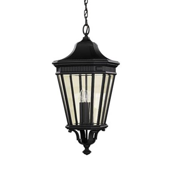 Feiss Cotswold Lane Collection 12-in x 26.50-in Black Lantern 3-Light Pendant Light