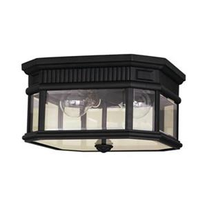 Feiss Cotswold Lane Black 2-Light Exterior Flush Mount Light