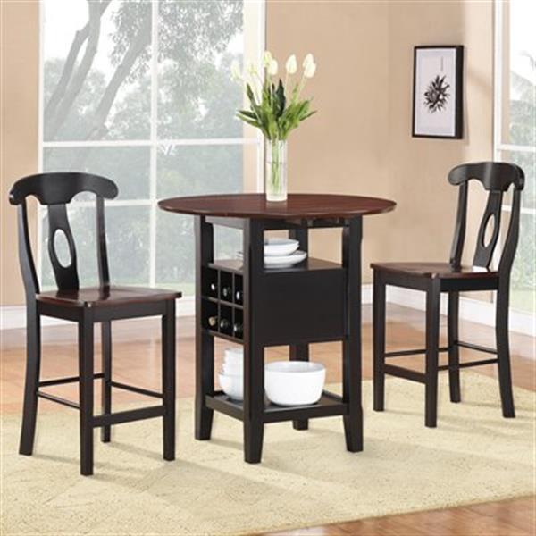 Homelegance Atwood Black/Brown 3-Piece Dining Set