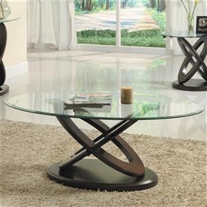 Homelegance Firth II 65.86-48-in Brown Wood Glass Top Coffee Table