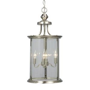 Galaxy Huntington Collection 12-in x 24.25-in Brushed Nickel 4-Light Foyer Pendant