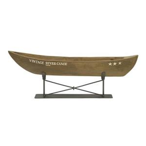 IMAX Worldwide Mango Wood/Metal Vintage River Canoe on Metal Stand Statue