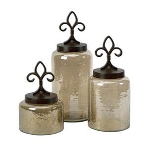 IMAX Worldwide Glass/Aluminum  Fleur De Lis Lidded Jars (Set of 3)