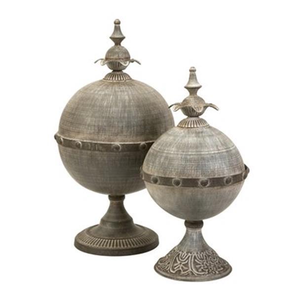 IMAX Worldwide Iron Decorative Lidded Sphere (Set of 2)