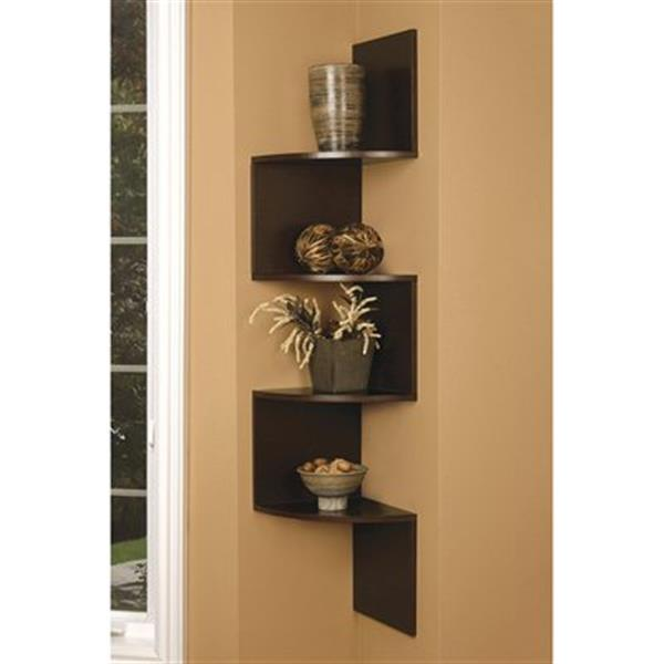 Nexxt Design Provo Dark Walnut Corner Wall Mounted Shelf