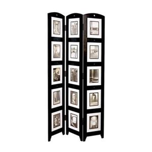 Nexxt Design Preston 64.5-in x 33-in Black Triple Panel Collage Room Divider