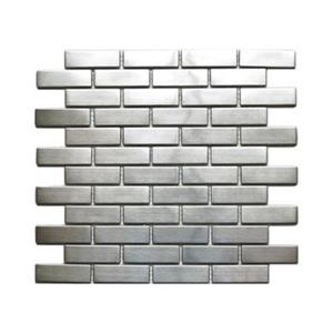 Large Brick Pattern Mosaic Tile - Stainless Steel - 11-Pack