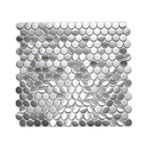 Penny Round Pattern Mosaic Tile - Stainless Steel - 11-Pack