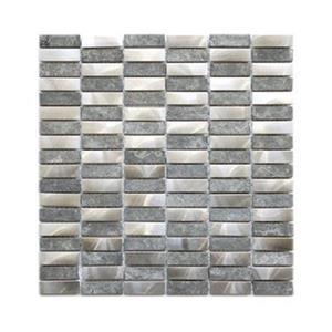 Stainless Bricks Grey Basalt Stone Mosaic Tile - 11-Pack