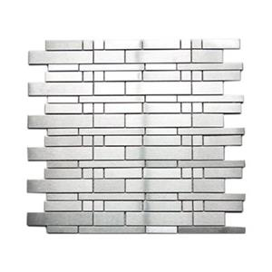 Modern Mix Brick Pattern Mosaic Tile - Stainless - 11-Pack
