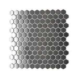 Tuile murale/dosseret mosaïque hexagone, acier inox, 11 mcx