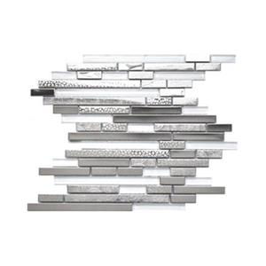 Modern Random Mix Tile White Glass Textured Metal - 11-Pack