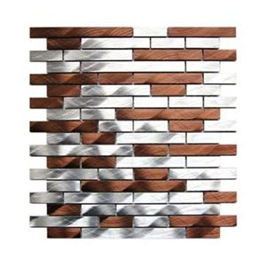 Brick Mixed Aluminum Mosaic Tile - Silver/Brown - 11-Pack