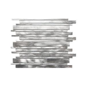 Long Random Bar Aluminum Tile - Silver - 11-Pack