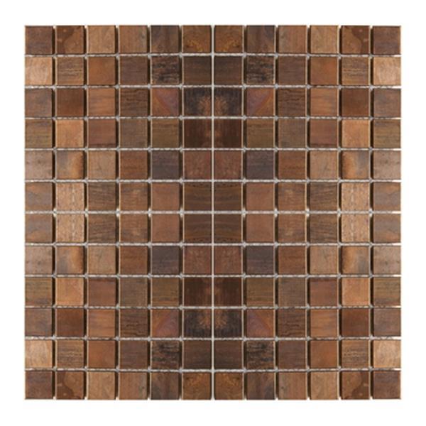 Tuile murale/dosseret mosaïque carrés, cuivre antique, 11mcx