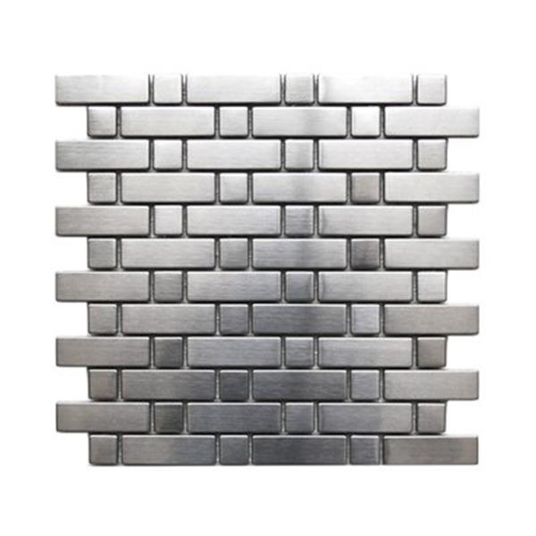 Tuile murale/dosseret briques et carrés, acier inox, 11 mcx