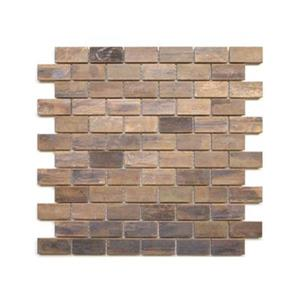 Medium Brick Mosaic Tile - Antique Copper - 11-Pack