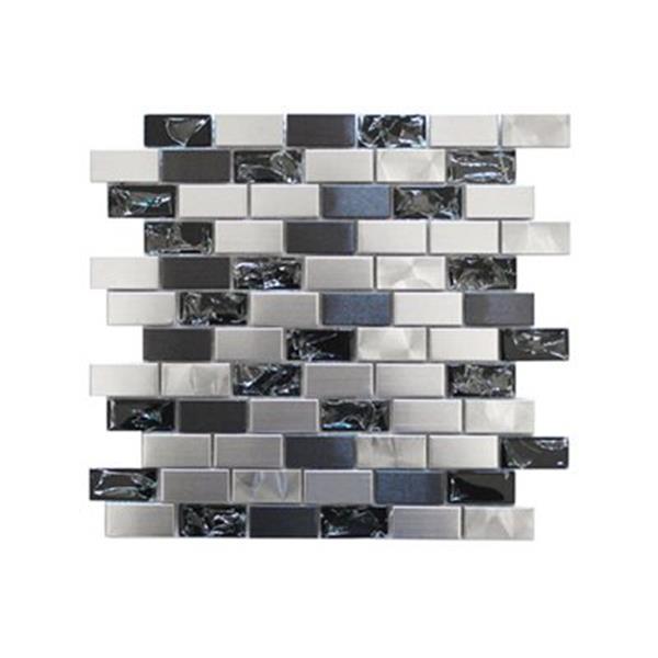 Tuile murale/dosseret craquelé, acier inox/verre noir, 11mcx