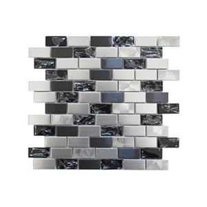 Mosaic Mix Tile - Stainless Steel/Crackled Glass - 11-Pack