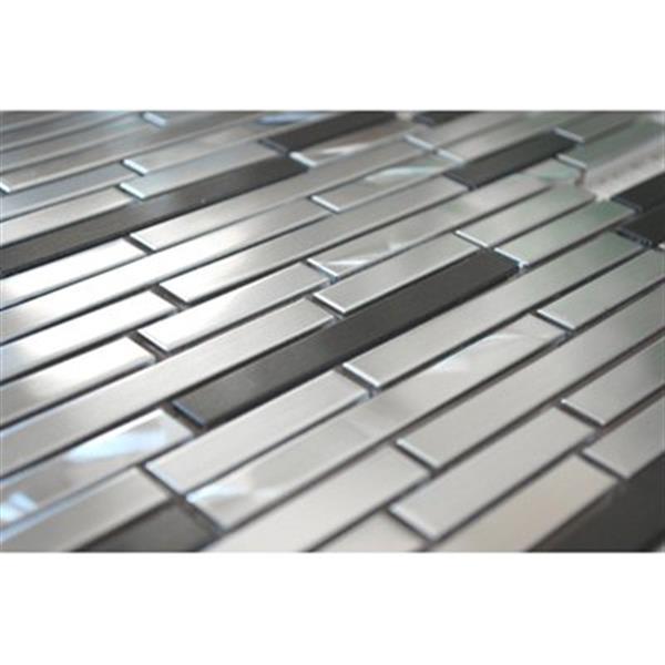 Tuile murale/dosseret barre, acier inox argenté/noir, 11 mcx