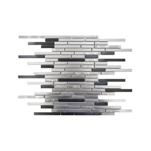 Thin Stainless Brick Mosaic - Silver/Black - 11-Pack