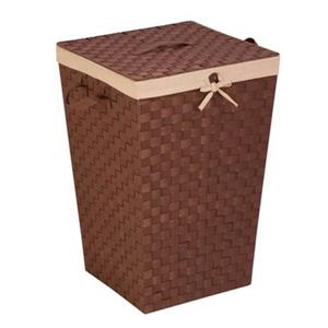 Honey Can Do Brown Woven Strap Hamper with Liner and Lid