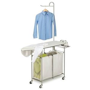 Honey Can Do 52-in x 14-in White Foldable Ironing Laundry Center And Valet Canvas Laundry Bags