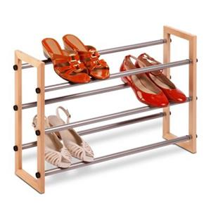 Honey Can Do Metal and Wood 3 Tier Expandable Shoe Rack