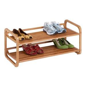 Honey Can Do 13-in Bamboo 2 Tier Stackable Shoe Shelf