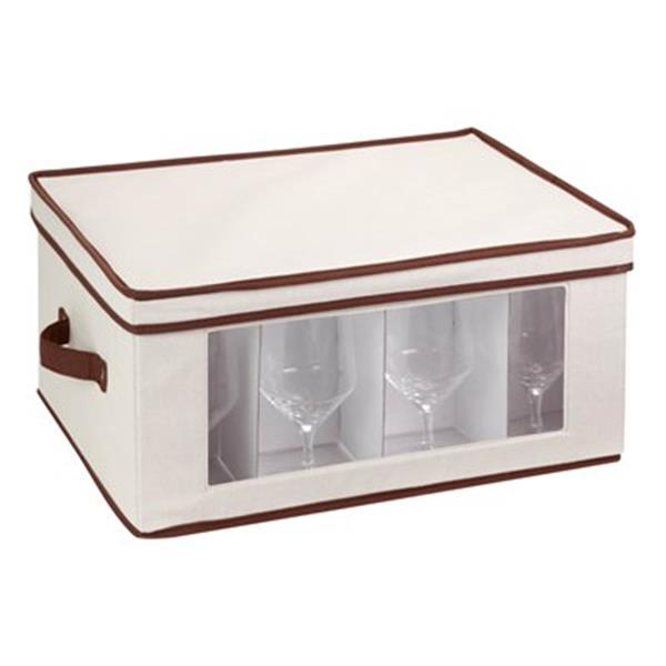 Honey Can Do 10.62-in x 13.50-in Off White Window Storage Box